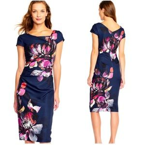 Adrianna papell watercolor floral sheath dress NWT